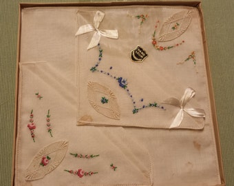 """Set of 3 Embroided """"Floral"""" Handkerchiefs in Original Box"""