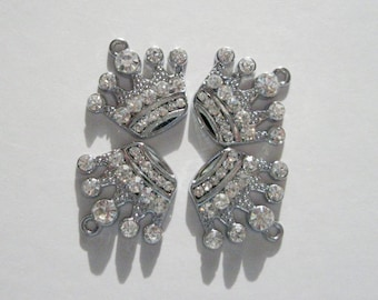 Clear Rhinestone Crown Charms/Pendants, Silver Color Metal ,  2 in a Pack, CLJewelrySupply