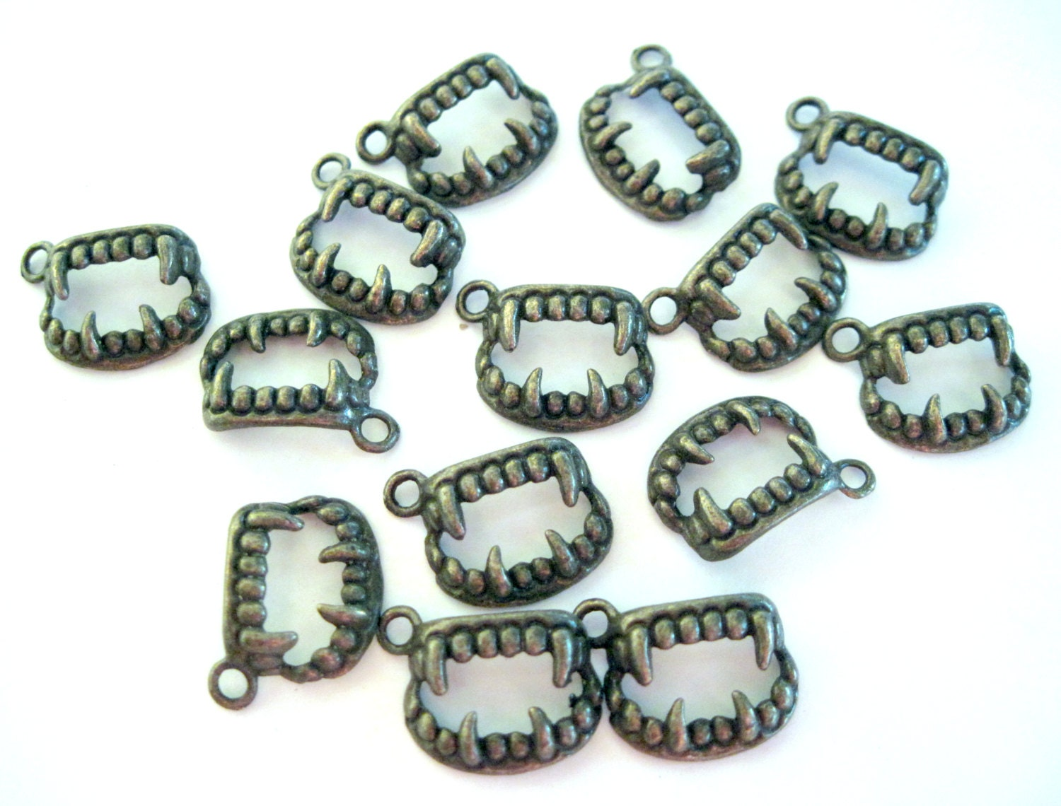 Bronze tooth charms vampire halloween goth bulk jewelry for Craft and jewelry supplies