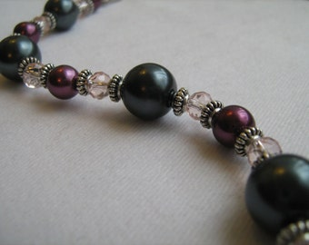 Grey and Burgandy Pearl and Crystal Bracelet