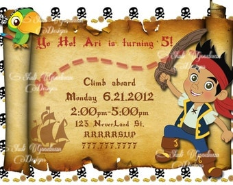 Jake and the Neverland Pirate  Invitation Digital File You Print
