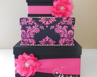 Wedding card box / money box / card holder / gift card box / 3 Tier ( Hot Pink & Black), damask