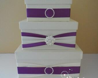 Wedding card box / money box / card holder / gift card box / 3 Tier (Ivory & Purple) - rhinestone brooch