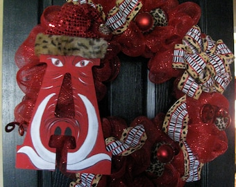 Arkansas Razorback Christmas  Wreath