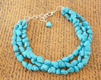 Chunky Turquoise Necklace Beach Wedding Jewelry Turquoise Megan Necklace 3 Strand Turquoise Nugget  Necklace Cowgirl Jewelry Western Jewelry