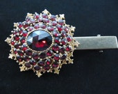 Stunning Clip for Hair Made from Vintage Red & Gold Tone Brooch