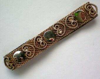Gold tone Mesh Heart Bracelet - 2888