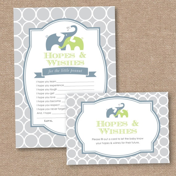 hopes and wishes baby shower card instant printable download