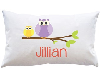 Personalized Custom Girls  Owl Woodland Pillowcase Bedroom Kids Toddler Pinks Purples