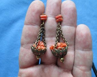 Antique Gold Coral Filigree Basket Earrings