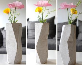 Concrete vase, geometric