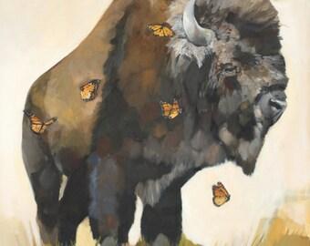 """Fine Art Print of Buffalo and Butterflies """"Beast"""""""