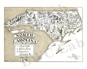 Pictorial Map of North Carolina - fun illustration of vintage state map