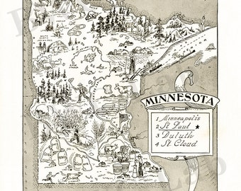 Pictorial Map of Minnesota - fun illustration of vintage state map