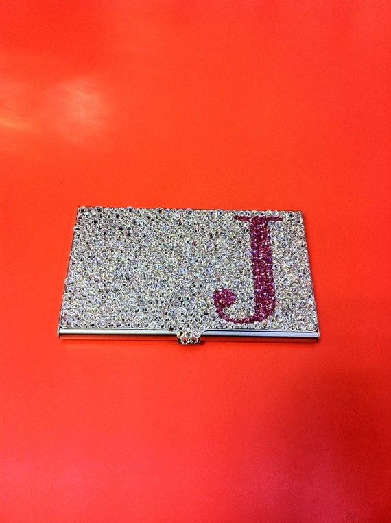 Initial luxury crystals business card holder by zmyblingz for Bling business card holder