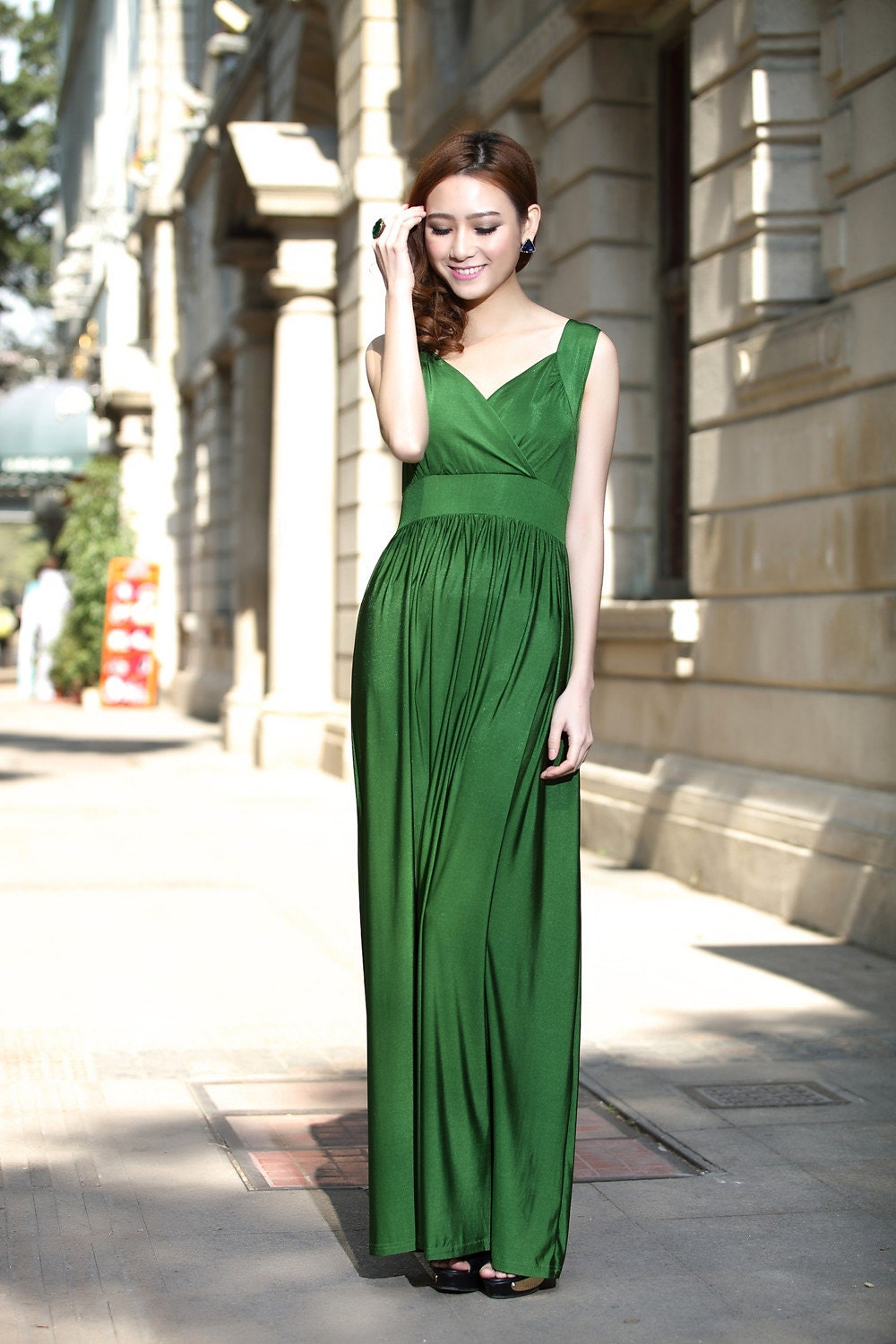 Emerald green wedding party maxi dress evening dinner by for Emerald green dress wedding guest