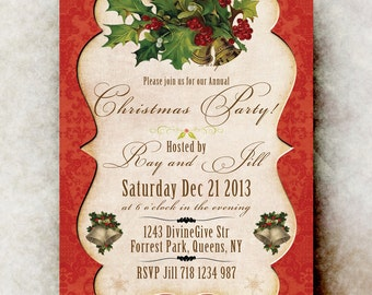 Christmas Party Invitation - Vintage Classic Christmas Invitation, Snowflake, bells, Holly, 5x7 or 4x6