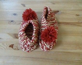 Raspberry Lemon Sorbet Handmade Knit Slippers