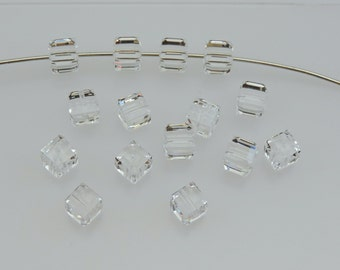 Crystal Cubes, Swarovski Crystal Article #5601, CRYSTAL 6mm Square Beads,TEN(10) 6mm Clear Crystal Cubes