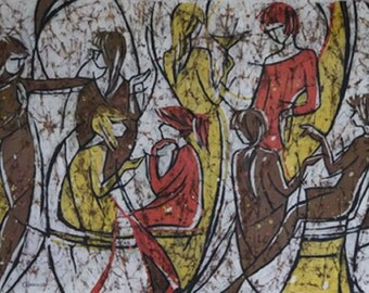 People Painting. Painting of the Conversation in Martini Bar. Original Batik Wall Hanging. Painting of Women Gathering. Wax Painting