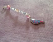 Pink, White and Blue Multi Use Beaded item with a charm (zipper pull, scissor FOB, Key Ring)