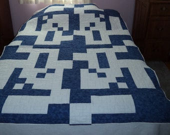 Bed Quilt, Blue and White Geometric
