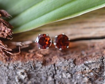 Fire Citrine Stud Earrings, Fire Citrine Earrings, Sterling Silver Stud Earring, 5mm Stud