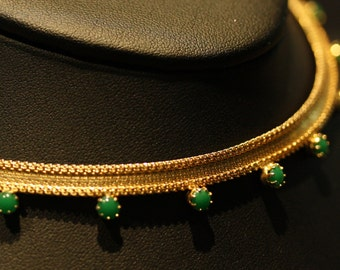 Vintage Crown Trifari gold mesh and faux jade necklace.