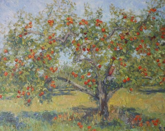 "Original Impressionist Oil Painting ""Temptation"",Hoosier Landscape,Apple Tree,Award Winning Prof. Artist,16x20,Unframed"