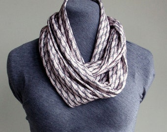 Infinity Scarf: Indian Woodblock Printed Fish Korma Organic Cotton Knit In Slate Grey and Brick