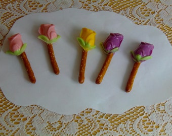 12 Tea Rose Pretzel Pops  Perfect for Valentine's Day, Weddings, Club Meetings, Party Favors!