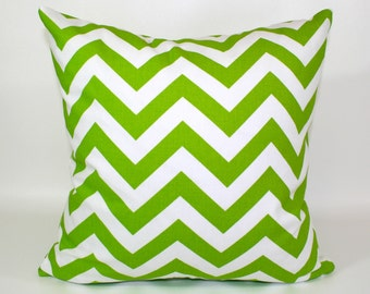 ZIPPER PILLOW COVER Lime Green pillow, green nursery pillow, chartreuse pillow, green chevron pillow, green euro sham