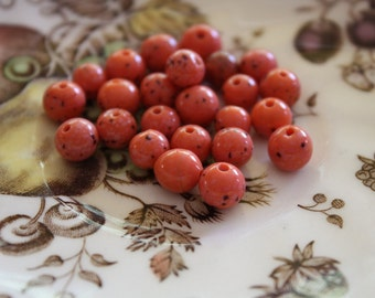 Vintage Spotted Glass Peach Beads (24 Pieces)