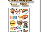 Kawaii colorful Series  classic Waterproof Stickers  set of 12 (Treasure Supplies 1988)