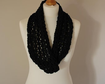 Multi-Way Infinity Scarf/Cowl - 100% cotton - black
