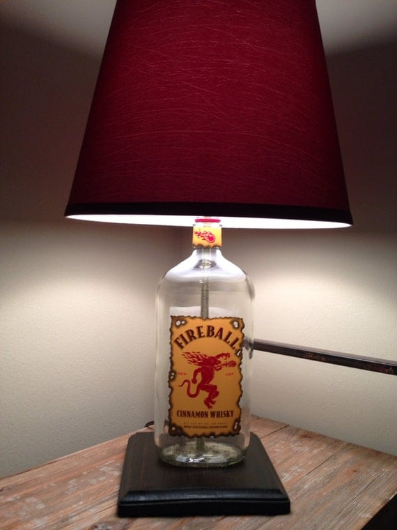upcycled fireball whiskey bottle lamp by petuniascorner on