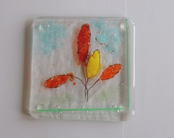 fused glass coaster with rubber feet