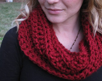Crochet cowl in very soft crimson red, red cowl, crochet infinity scarf