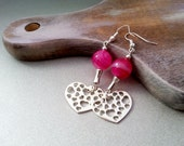 Red hearts earrings delicate christmas gift idea for her valentines gift package wonderful fuchsia agate stone - MKedraDecoupage
