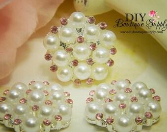 Rhinestone & Pearl buttons PINK Flatback Embellishments - Bridal Supplies flower centers Headbands crystal bouquet  5 pcs 23mm 194047