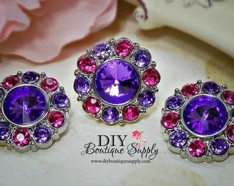 Rhinestone Buttons PINK and PURPLE - 25 mm - Acrylic Rhinestone Embellishments Scrapbooking Flower centers Headband Supplies 5 pcs 439035