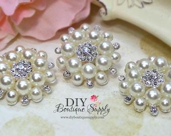 3 pcs 35mm Pearl Rhinestone Brooch Embellishment Shoe Clips Sash Pins Bridal Wedding accessories Headband Supplies Flower Centers 479070