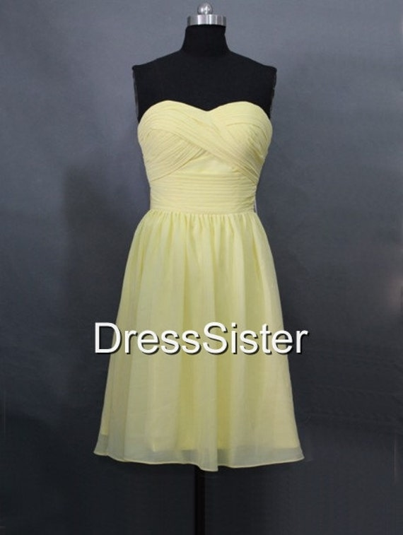 Bridesmaid Dress - Yellow Bridesmaid Dress / Short Bridesmaid Dress / Yellow Wedding Dress / Yellow Party Dress / Prom Dress Yellow