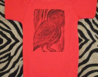 Red Owl Block Printed Onsie