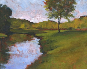 Along the Riverbank . giclee art print of riverbank with trees