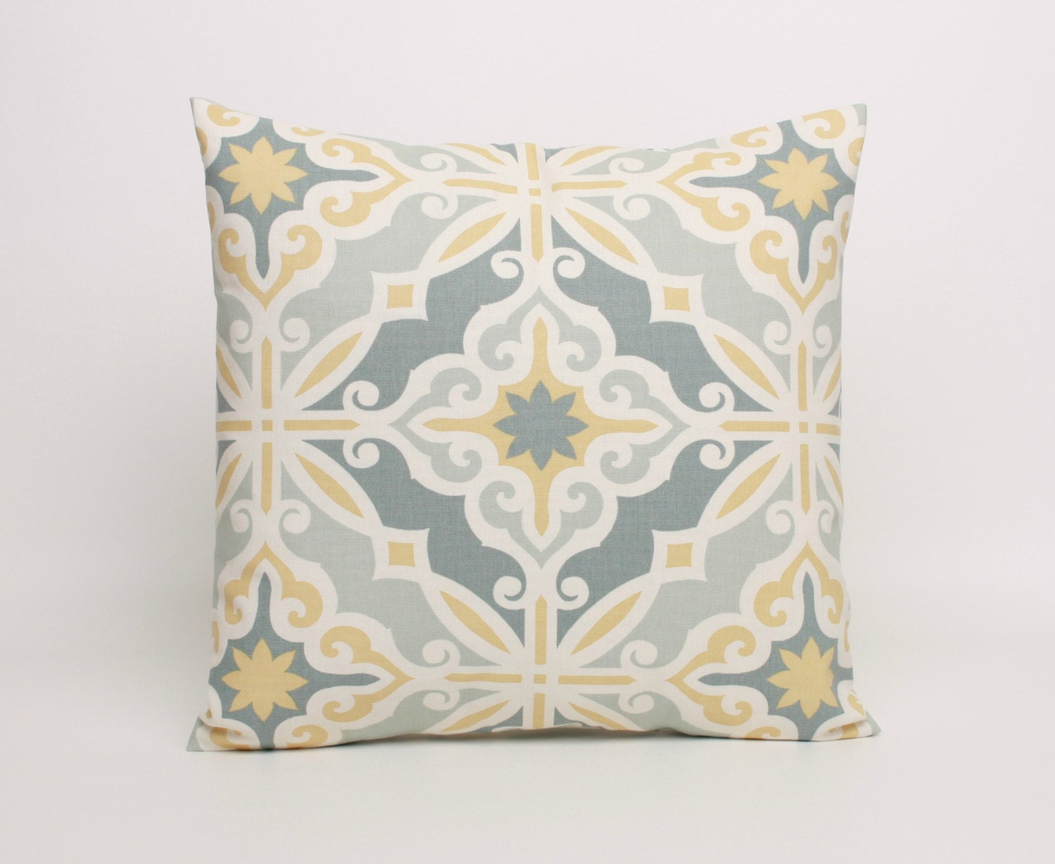 Yellow and Gray Throw Pillow Cover 22x22 by DimensionsHomeDecor