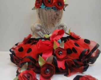 Adorable 3 Piece Lady Bug Halloween Costume Party Dress  - 3 Months to 4 Years