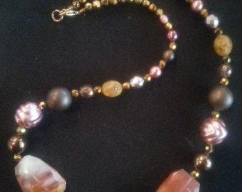 "Unusual designer 24"" Necklace in Quartz,Crystal,Semi Precious And Vintage Beads"