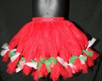 Red, White and Green Tutu, Petti Tutu Skirts, Children's Tutu Skirts, Christmas tutu, Red and White Christmas Tutu