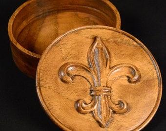 Carved Fleur De Lis Jewelry Box